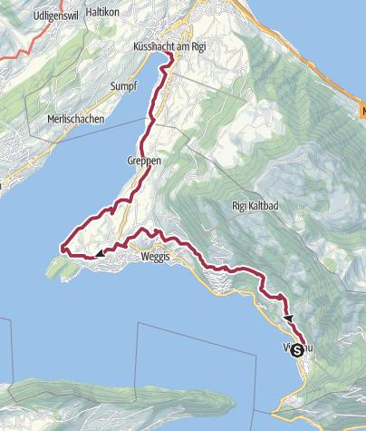 Karte / Waldstätterweg Etappe 2: Vitznau - Küssnacht