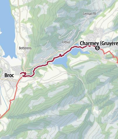Map / Von Charmey durch die Jaunbachschlucht nach Broc