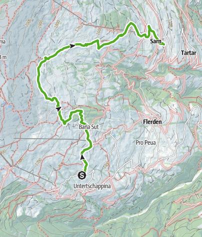 Karte / Parsirasrunde (Obertschappina - Parsiras - Sarn)
