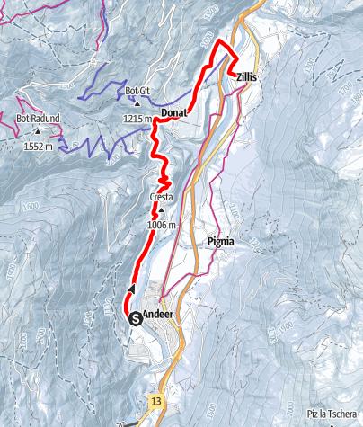 Karte / Andeer - Clugin - Donat - Zillis