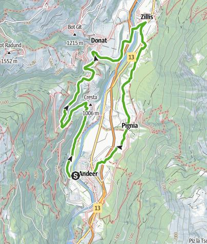 Karte / Rundwanderung Cagliatscha (Schams)