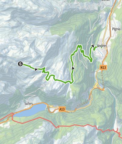 Karte / Cufercalhütte - Andeer (2. Etappe)