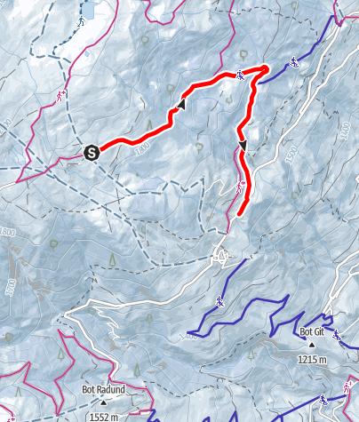 Karte / Schlittelweg Dros - Tipi - Mathon/Lohn