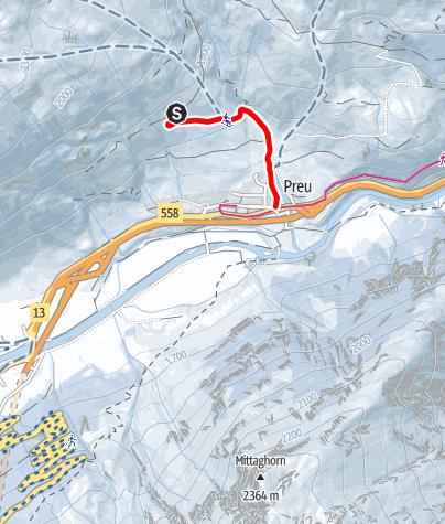 Karte / Schlittelweg Hinterrhein