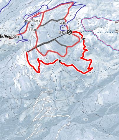 Karte / Schlittelweg Mutta - Südhang - Feldis
