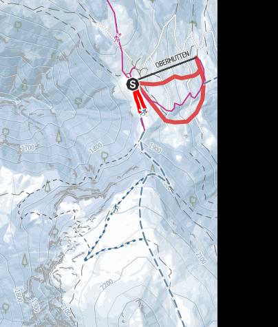 Karte / Langlaufloipe Obermutten