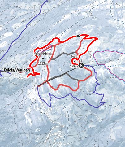 Karte / Schlittelweg Mutta - Nordhang - Feldis