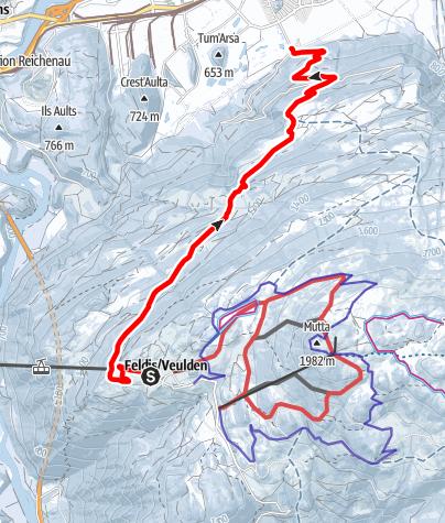 Karte / Schlittelweg Feldis - Domat/Ems