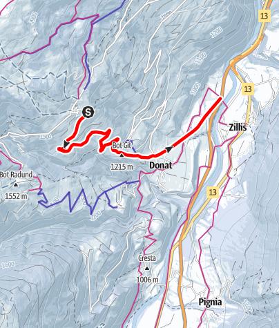 Karte / Schlittelweg Mathon - Donat - Zillis