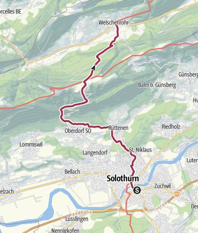 Map / ViaSurprise-Zubringer: Solothurn - Welschenrohr