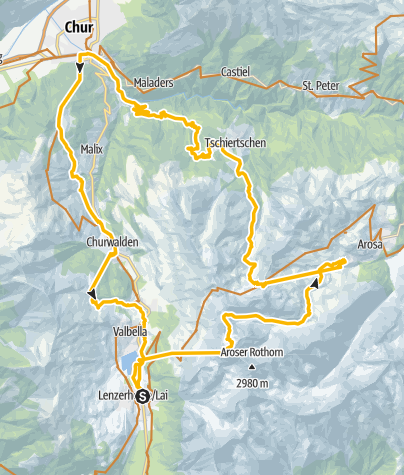 Karte / Älpliseetrail - Hörnli - Tschiertschen - Chur