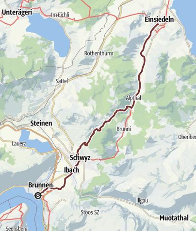 Karte / Jerusalemweg: Brunnen - Einsiedeln