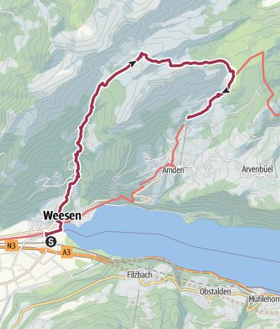 Map / Heidiland Hiking Tour 1: Weesen - Amden