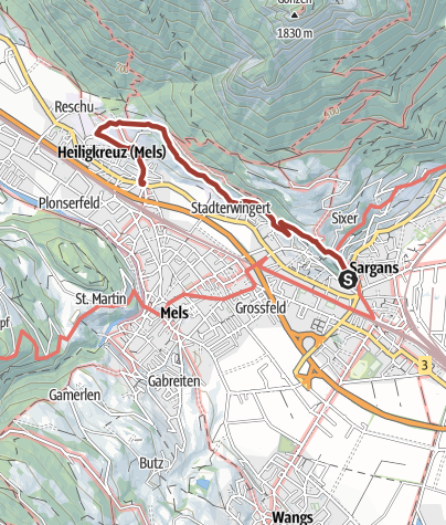 Karte / Weinbau-Weg Sargans-Mels