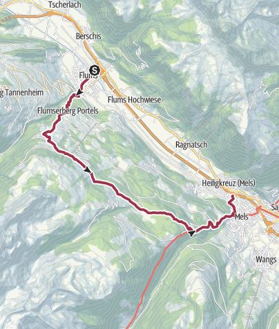 Karte / Flums - Chapfensee - Mels