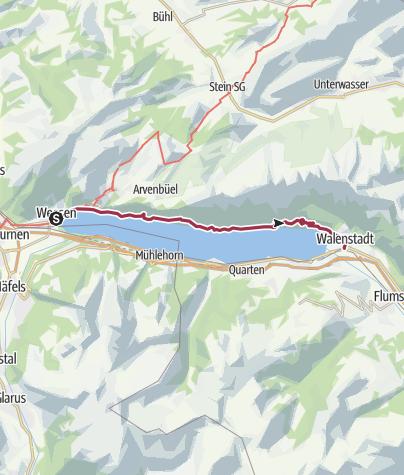 Karte / Weesen - Quinten - Walenstadt