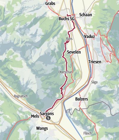 Karte / Sargans - Oberschan - Buchs