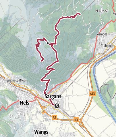 Karte / Sargans - Gonzen - Kurhaus Alvier - Oberschan