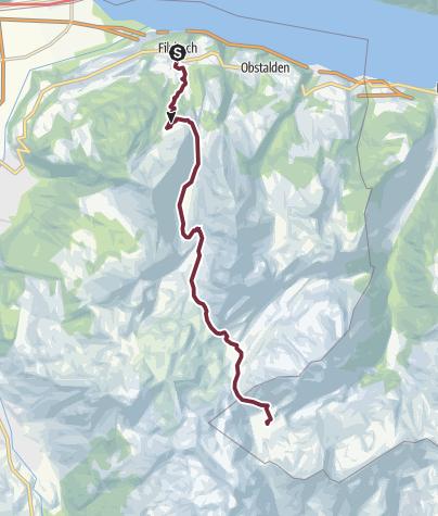 Karte / Sardona-Welterbe-Weg Nr. 73, 1. Etappe