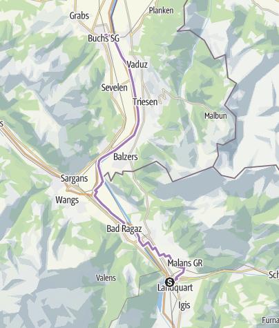 Karte / Rhein-Skate Nr. 1: Etappe 3 Landquart - Buchs (SG)