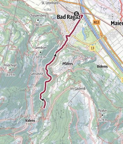 Karte / Route des Staunens Taminaschlucht