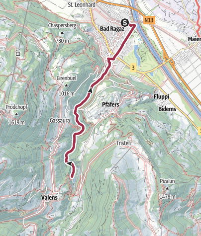 Map / Route of amazement Tamina Gorge