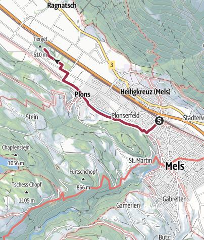 Karte / Route des Staunens Mels