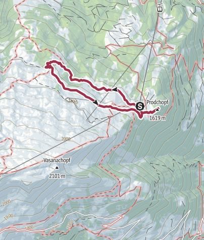 Map / Route of amazement Pizol Pardiel