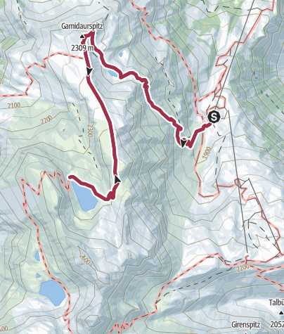 Map / Route of amazement Pizol Gaffia