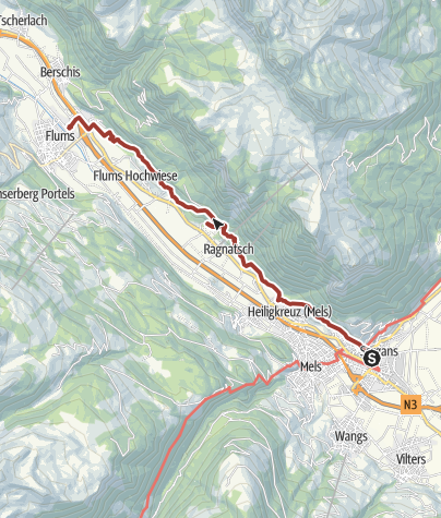 Map / Jubilee Route: 1250th Anniversary Flums, Mels, Sargans