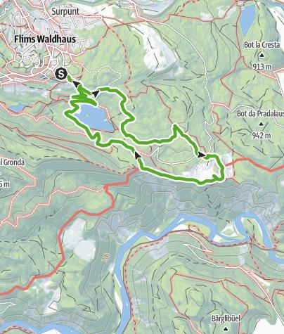 Karte / Caumasee Rundwanderung: Flims - Caumasee - Conn - Flims