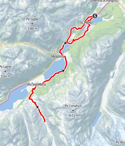Karte / Oberengadiner Seen mit Val Fex