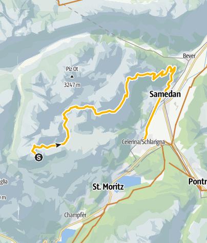 Karte / Piz Nair über 3 Fluors nach Samedan