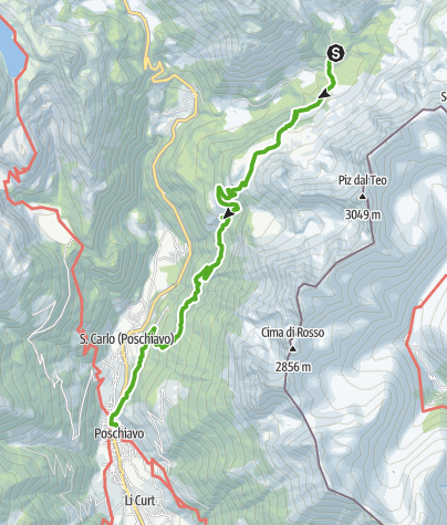 Map / Bernina-Trek (Etappe 7): Rifugio Saoseo - Poschiavo