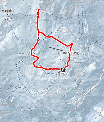 Karte / Schneeschuhwandern: Tenner Chrüz im vorderen Safiental
