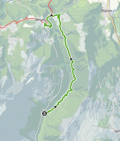 Karte / Talwanderung Egschisee - Sculms - Versam