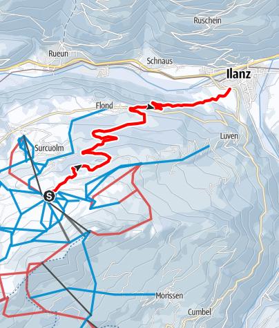 Karte / Schlitteln Cuolm Sura - Surcuolm - Flond - Ilanz