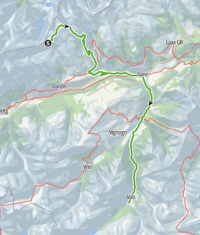 Kaart / Kronenwanderung: Bifertenhütte - Andiast (mit dem ÖV bis Vals)