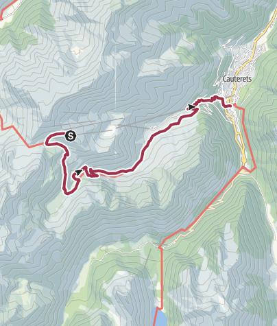 Map / Cable car to Cirque du Lys. Walk to Cauterets via Lac d'Iheou.