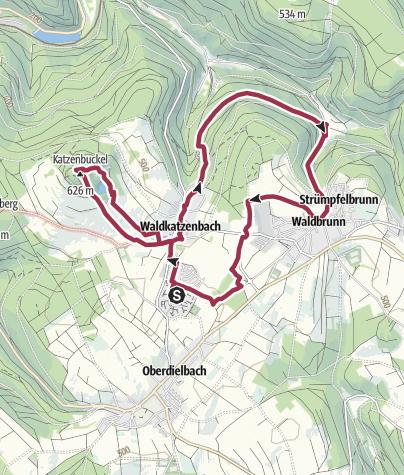 Karte / Vom Feriendorf zum Katzenbuckel in den Oberhöllgrund