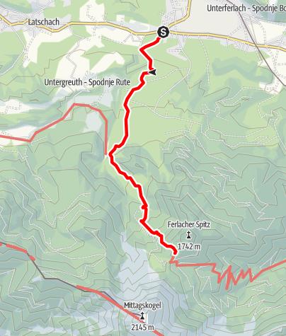 Karte / Zustieg auf die Bertahütte vom Hotel Mittagskogel