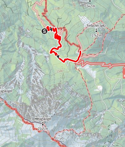 Karte / Zustieg auf die Bertahütte von Kopein Parkplatz