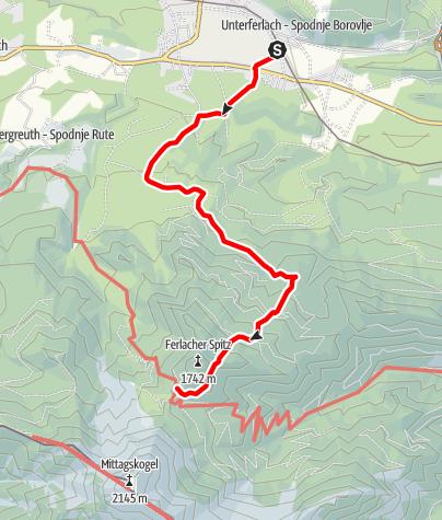 Karte / Zustieg auf die Bertahütte vom Bahnhof Ledenitzen