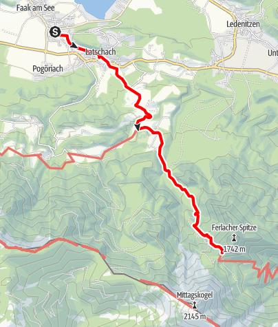 Karte / Zustieg auf die Bertahütte von Faak am See/Latschach