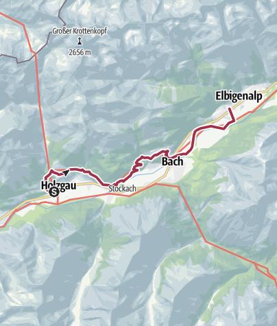 Kaart / Holzgau nach Elbigenalp