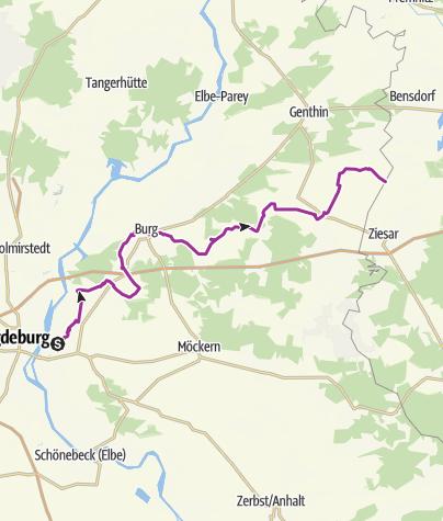 Karte / Telegraphenradweg Berlin - Koblenz im Jerichower Land (in Bearbeitung)