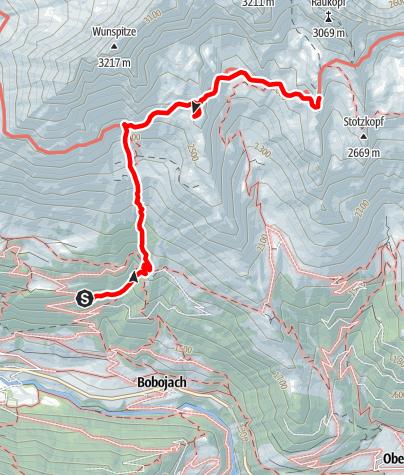 Kaart / Zustieg auf die Bonn-Matreier-Hütte von Prägraten/Parkplatz Bodenalm