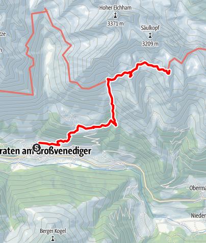 Kaart / Zustieg auf die Bonn-Matreier-Hütte von Prägraten