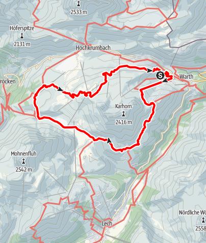 Karte / Kulinarisch Wandern in Warth-Schröcken