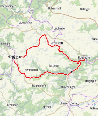 Karte / Alb-Donau-Kreis E-Bike - Blautopf-Tour zur Schönen Lau nach Blaubeuren